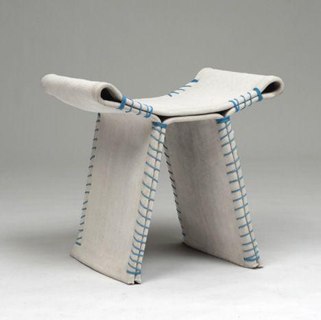 Taburete de cemento stitching concrete by Florian Schmid